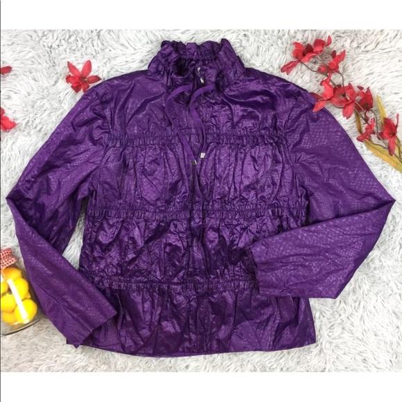 3c4643e3415e0 Chico s Jackets   Blazers - Chico s Womens Jacket Purple Zip-up Ruffle Size  1